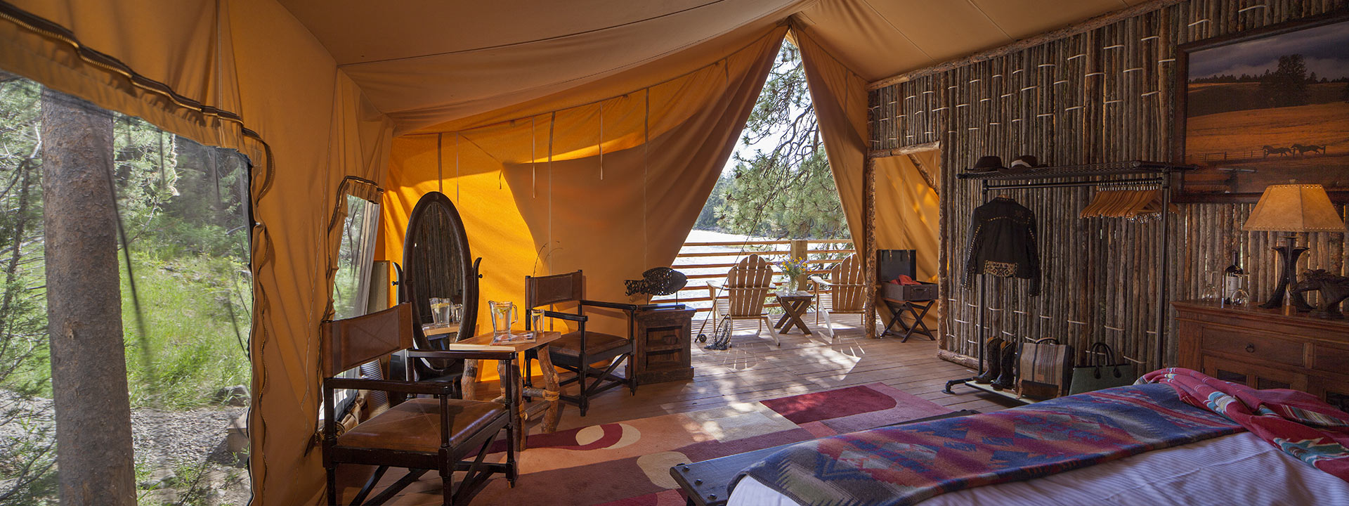 River C& - Tent Interior & Glamping in Luxury Tents - River Camp - The Resort at Paws Up