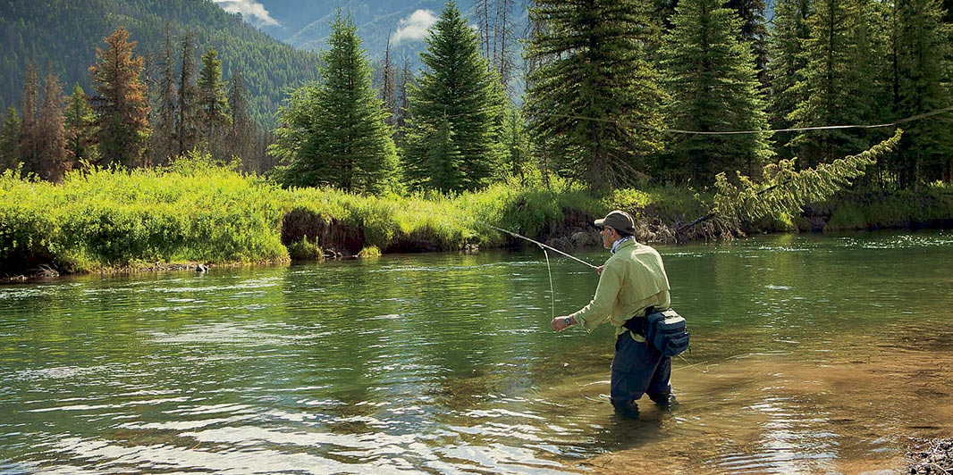 Fly fishing on the Blackfoot River.