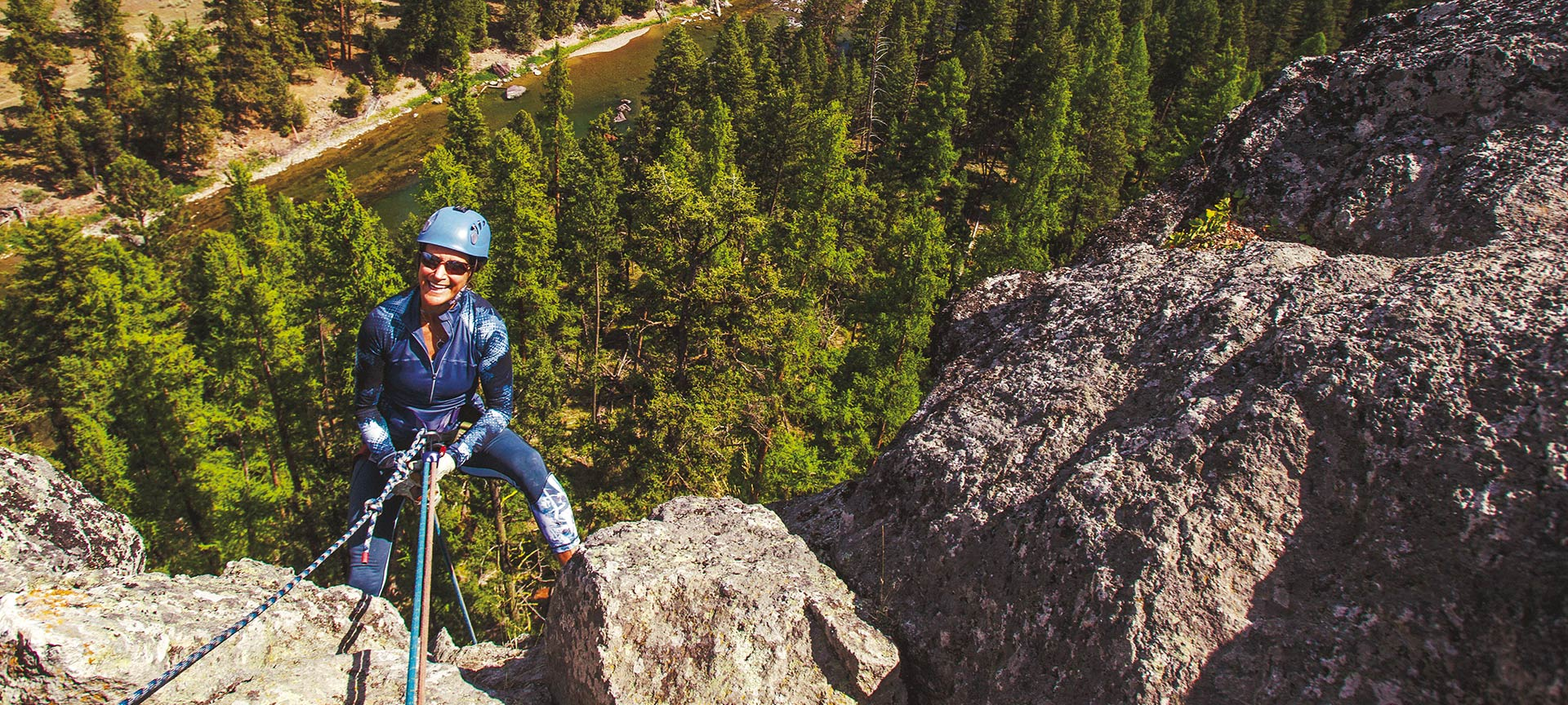 Rappelling over the Blackfoot River