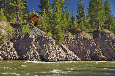 Cliffside Camp from the Blackfoot River