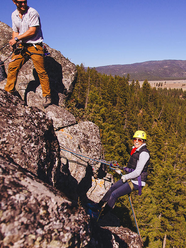 Rappelling over the Blackfoot River.