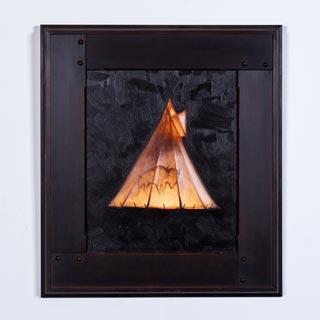 FRAMED OIL PAINTING, <em>MIDNIGHT FIRE</em> BY MARK GIBSON